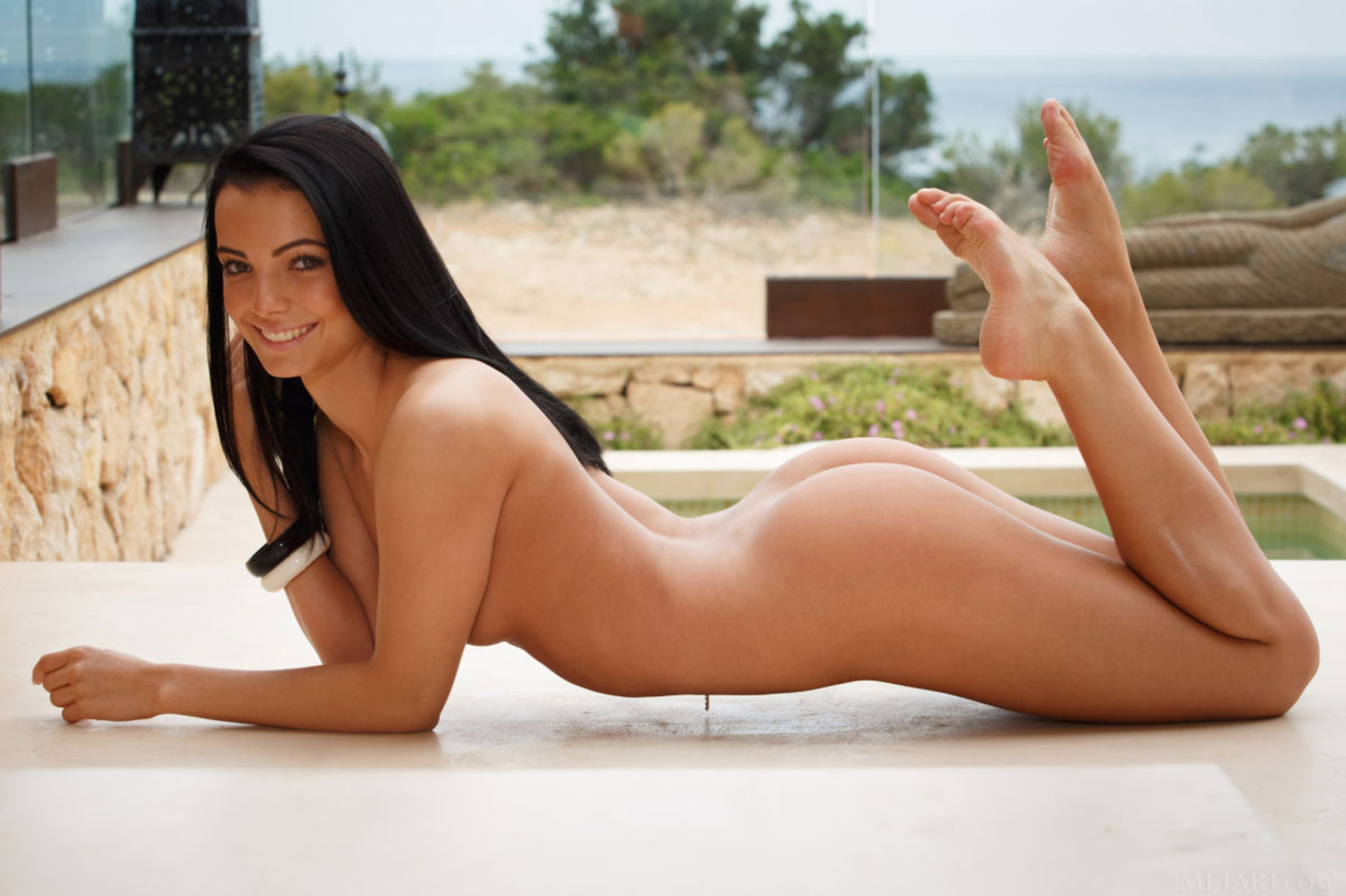 Naked babe spreading