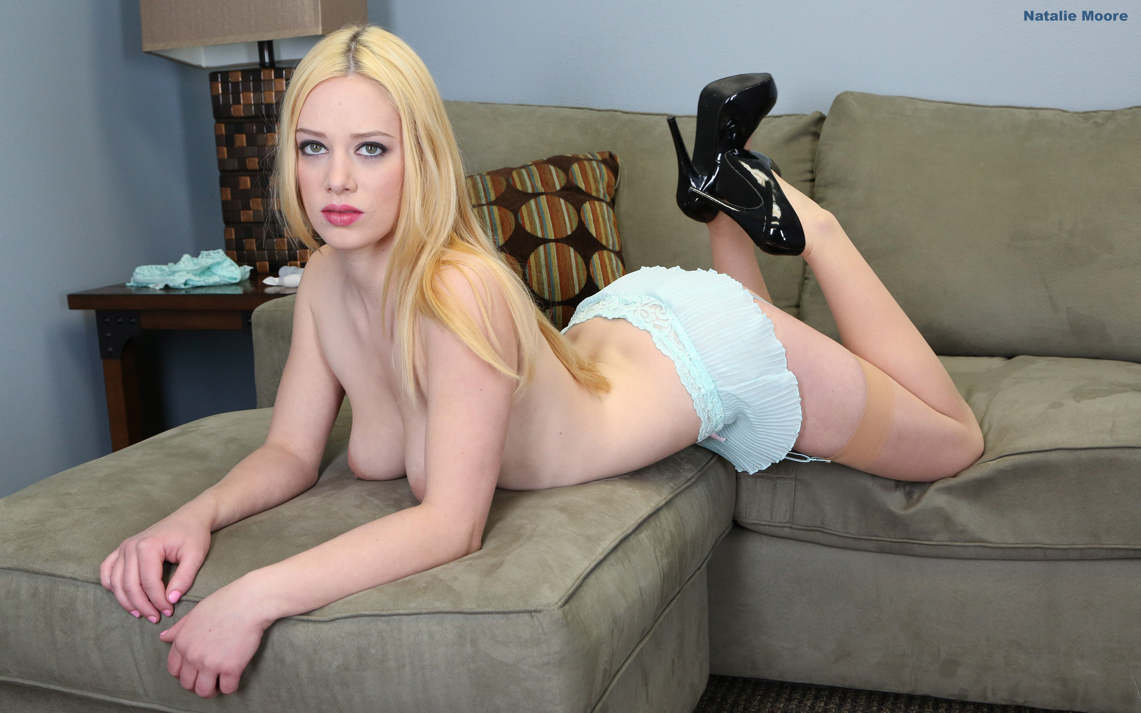 Download photo 1920x1080, natalie moore, stockings, heels ...