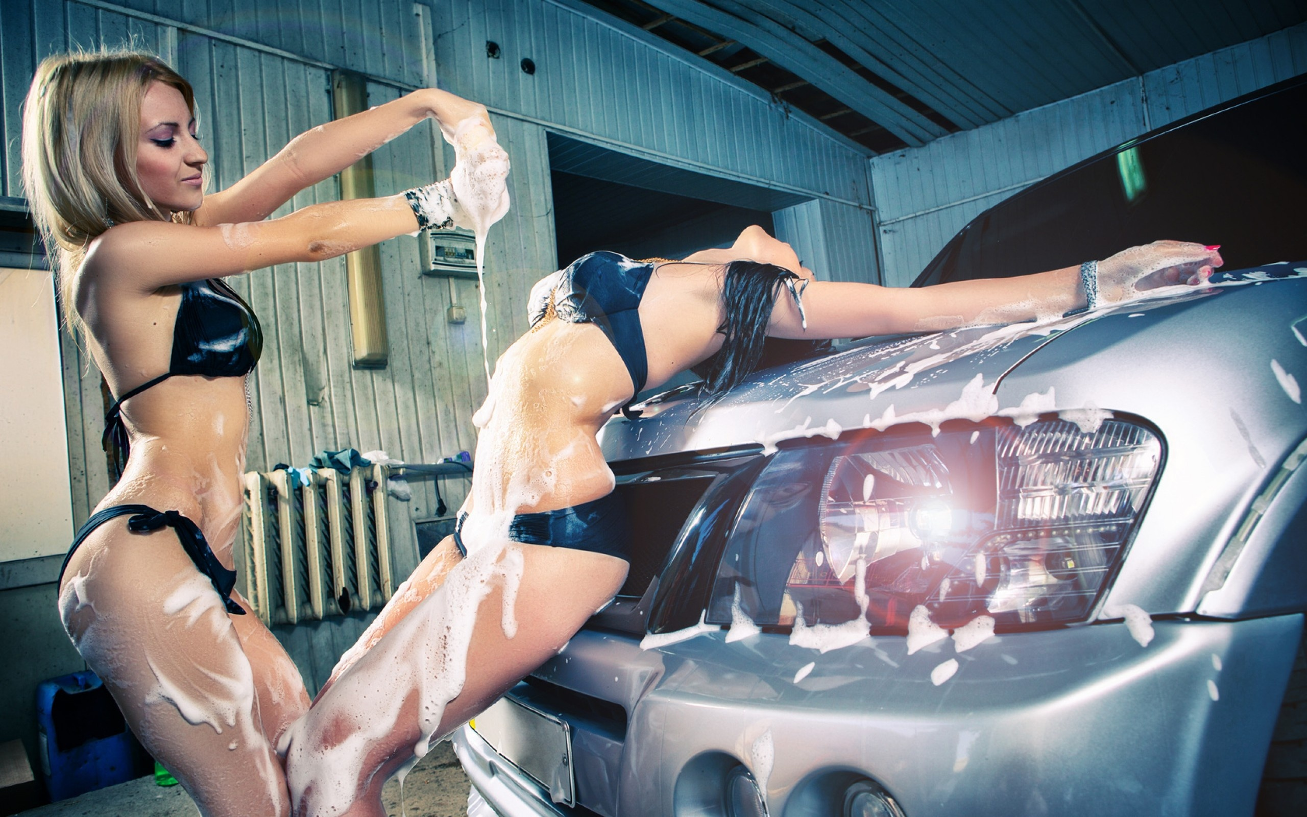 four car washing hotties service one big dicked guy outdoors  285987