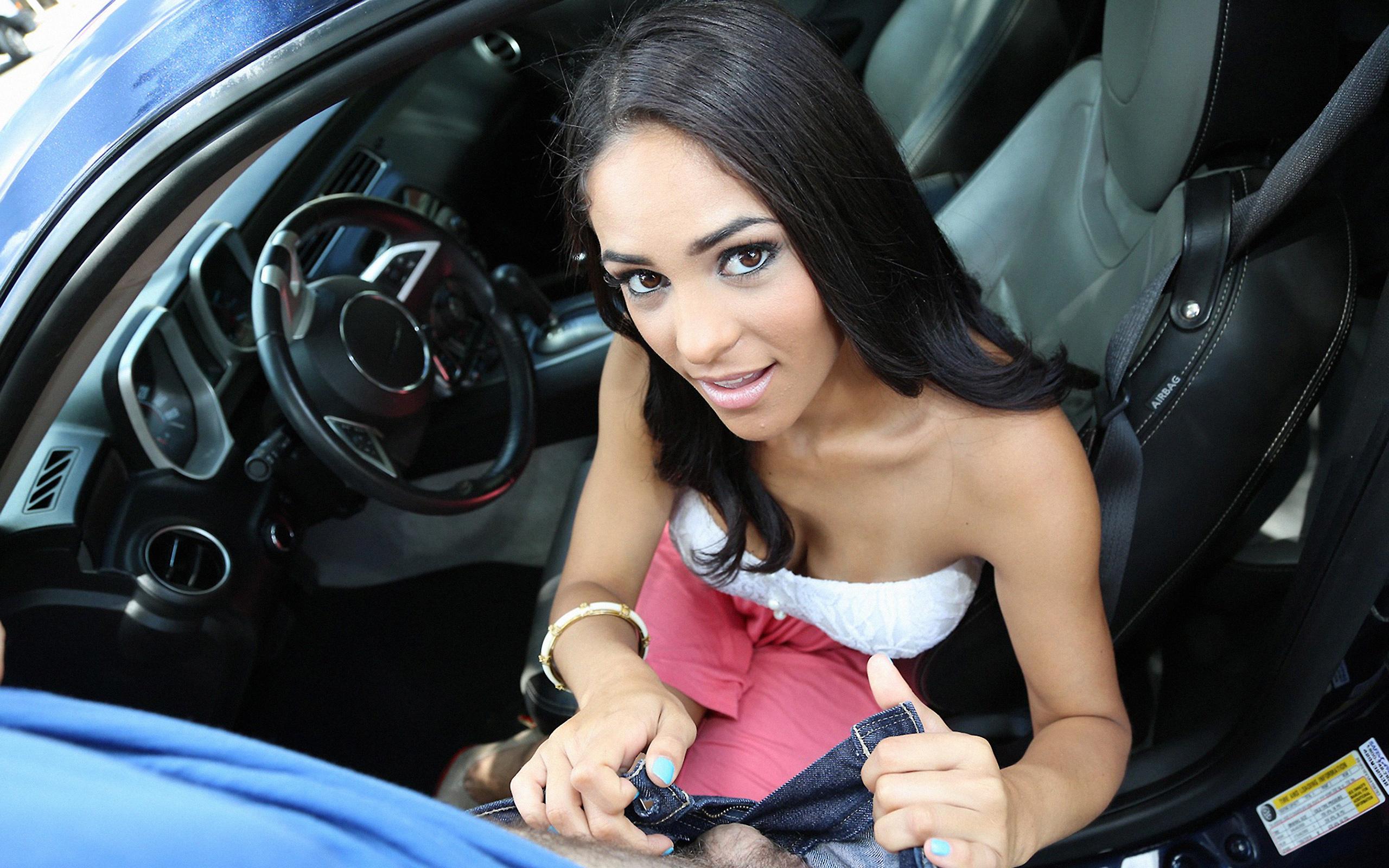 brunette sex video in car