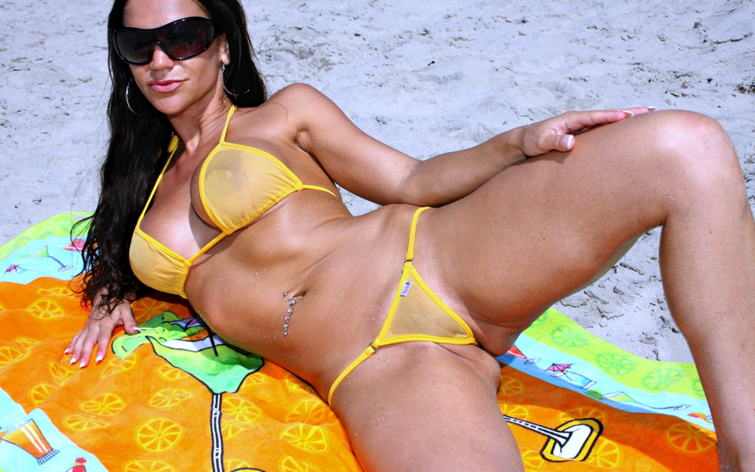 Tiny Yellow See Through Bikini On Brunette