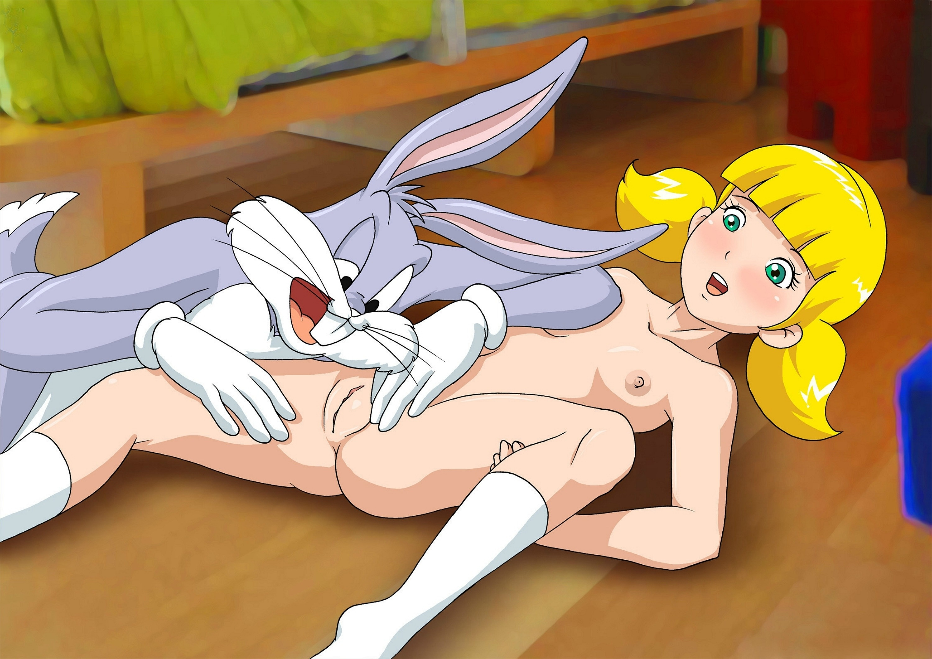 wallpaper bugs bunny, girl, shaved pussy, little tits, cartoon