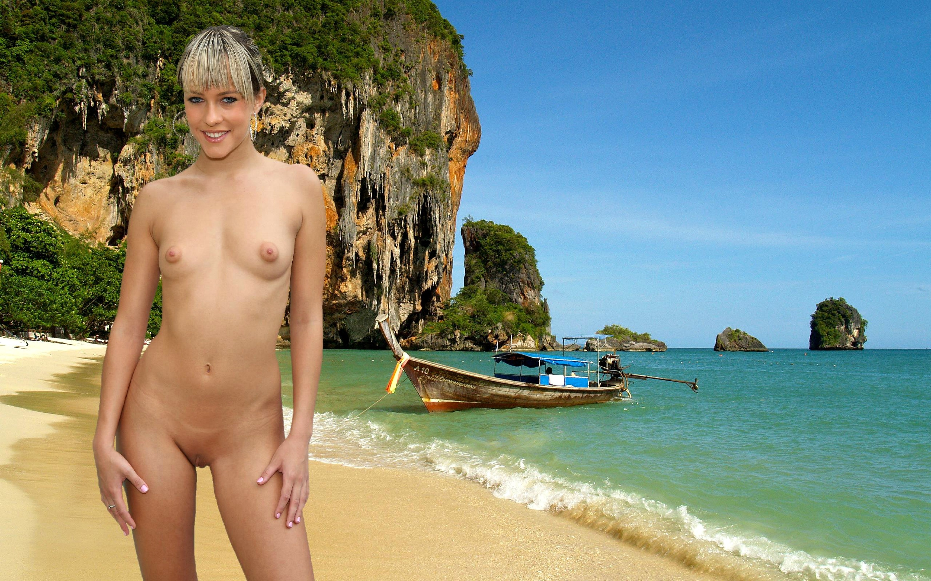 Wallpaper Leila, Blonde, Beach, Naked, Small Tits, Puffy -8891