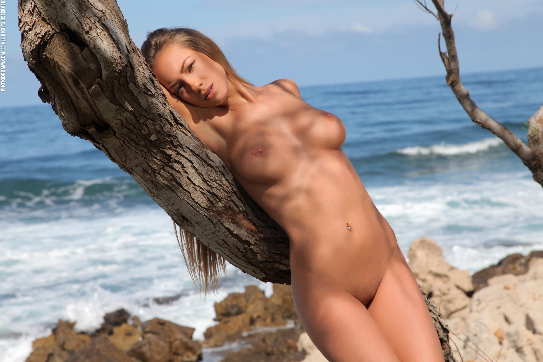 Wallpaper Beach, Plant, Tree, Sea, Blonde, Naked, Vivien -3435