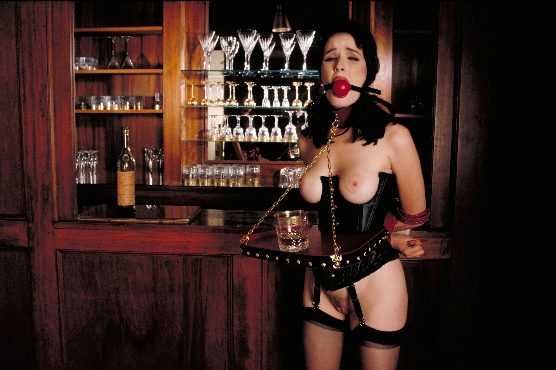 Sexy waitress in bondage wearing socks interesting