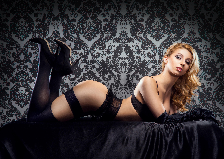 Wallpaper Sexy Girl, Black Lingerie, Gloves, Stiletto -4723