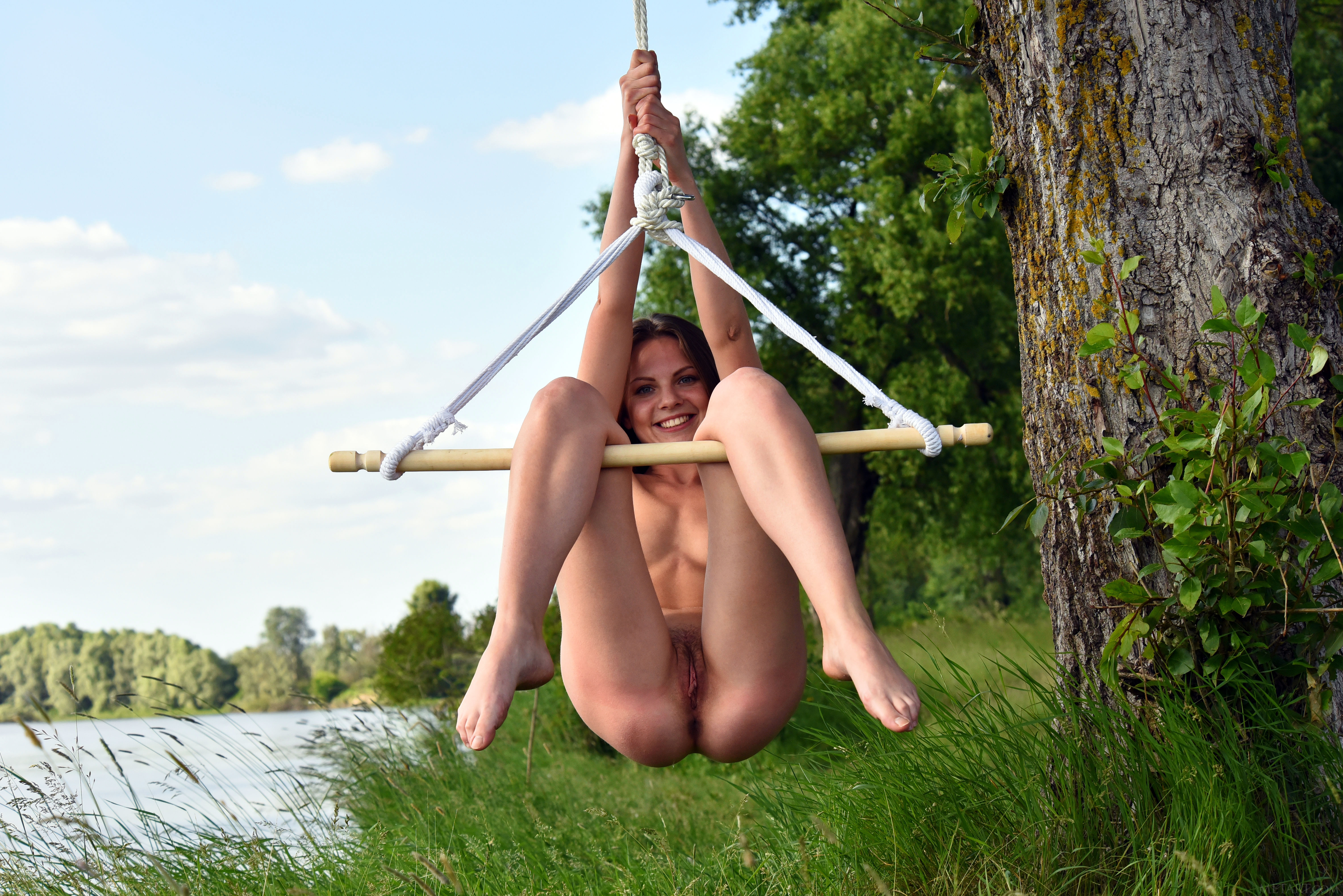 Hairy pussy on the swing