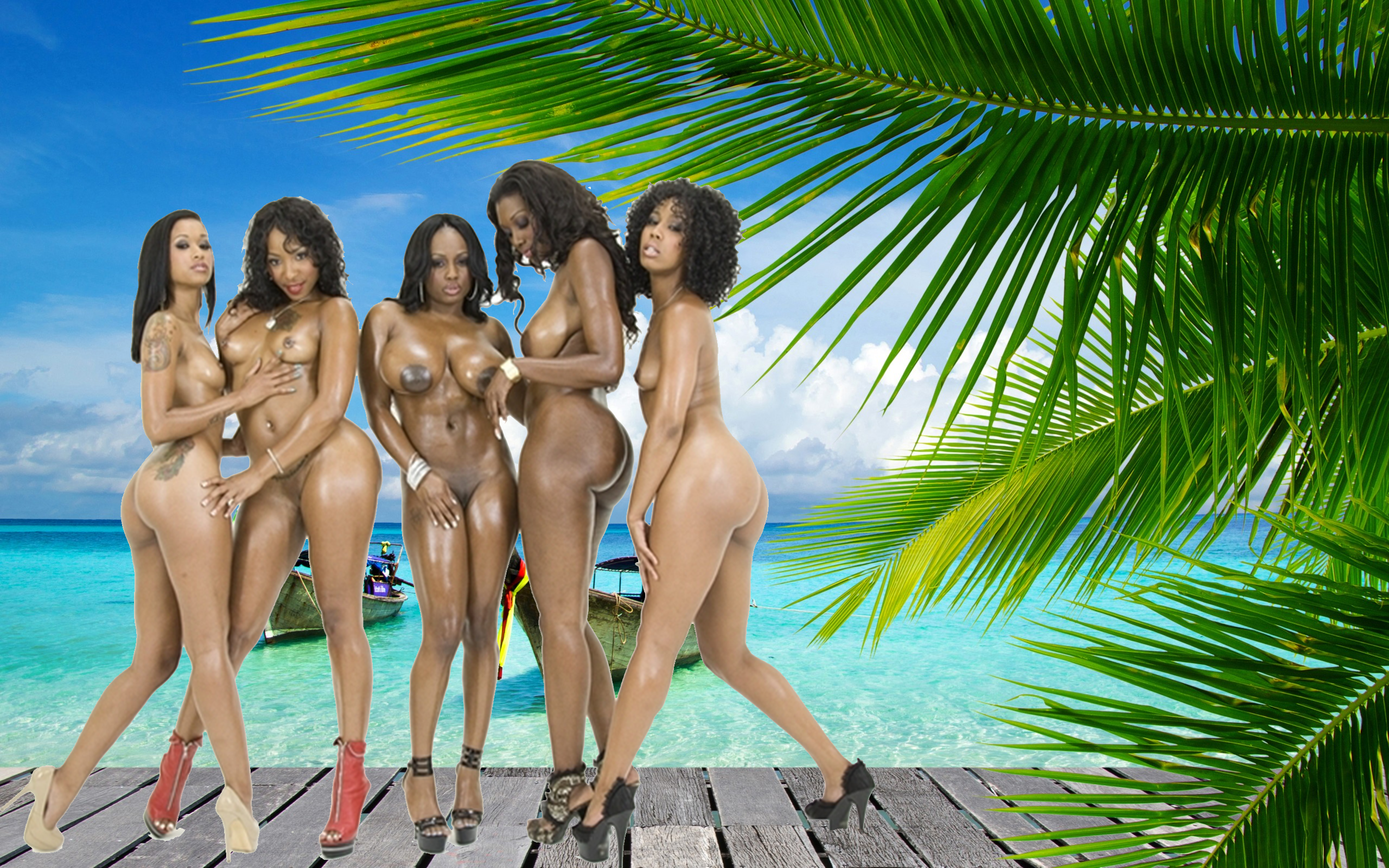 Wallpaper Ebony, Beach, Five, Big Tits, Tits, Boobs, Wet -9766