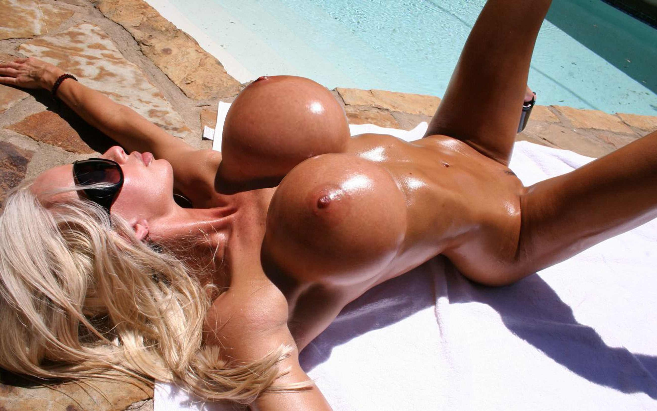 Simply huge oiled boobs and ass porn