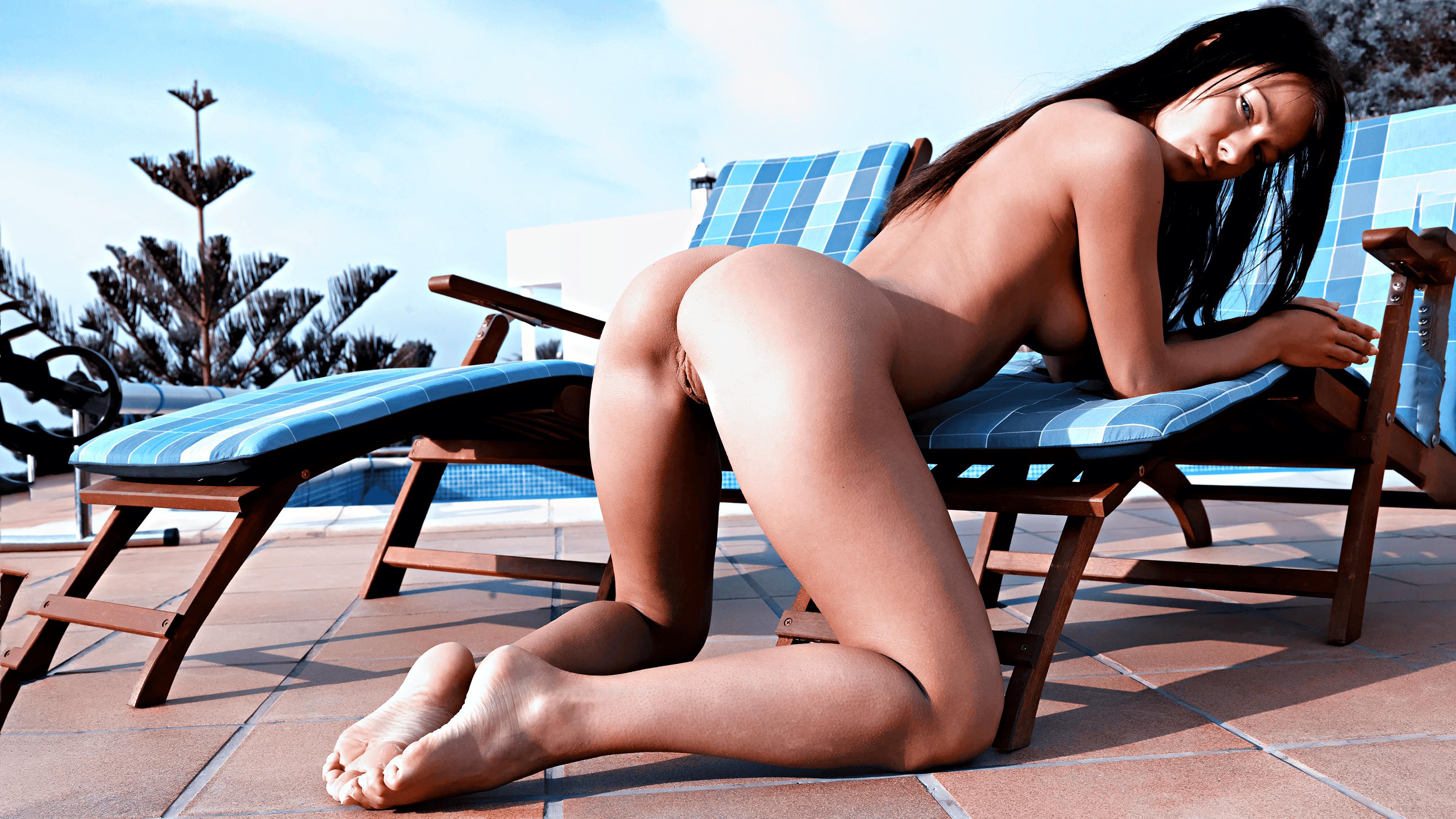 Nude In Beach Chair Art Print By Maureen Piccirillo