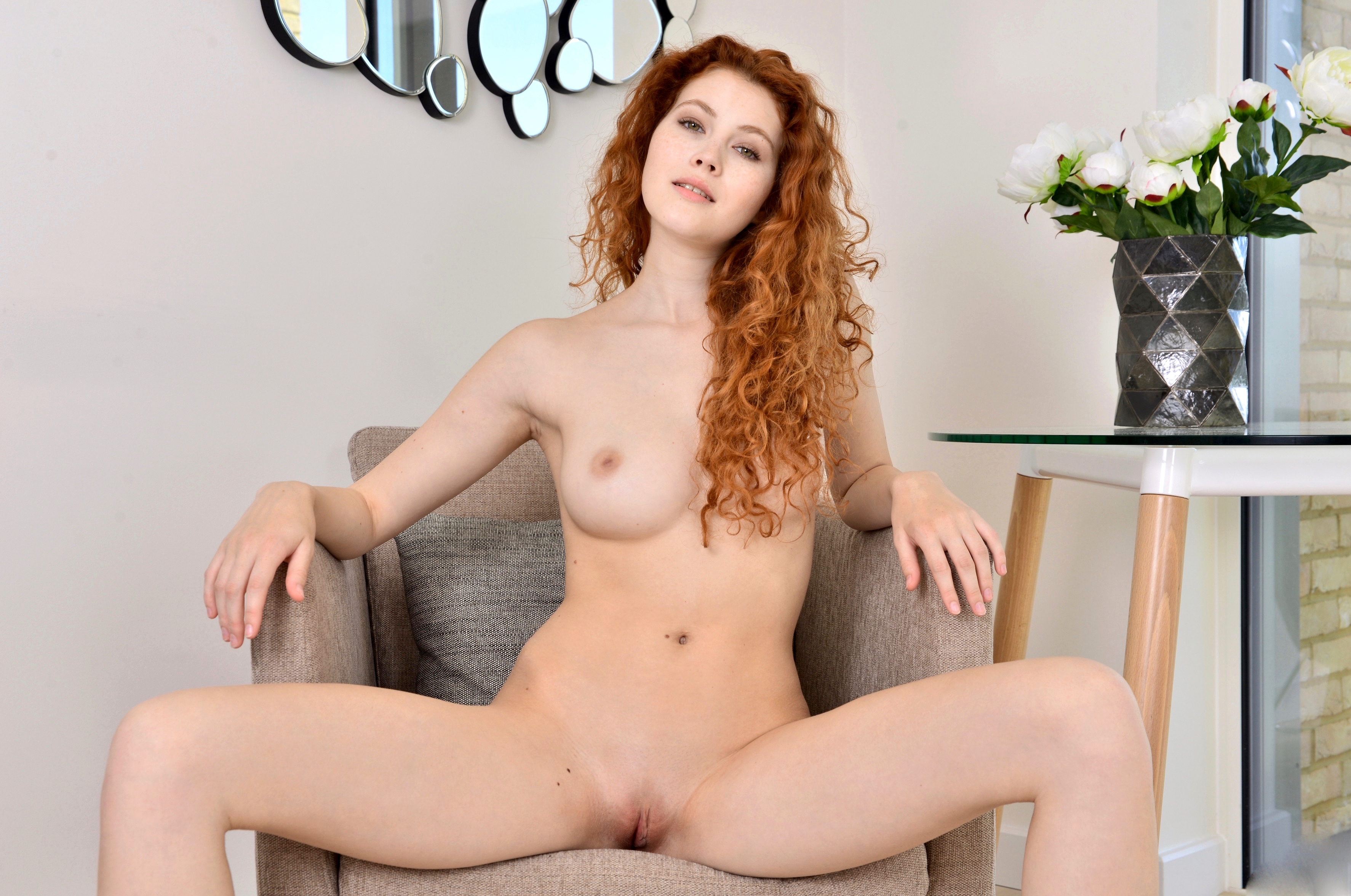 Curly red hair big tits