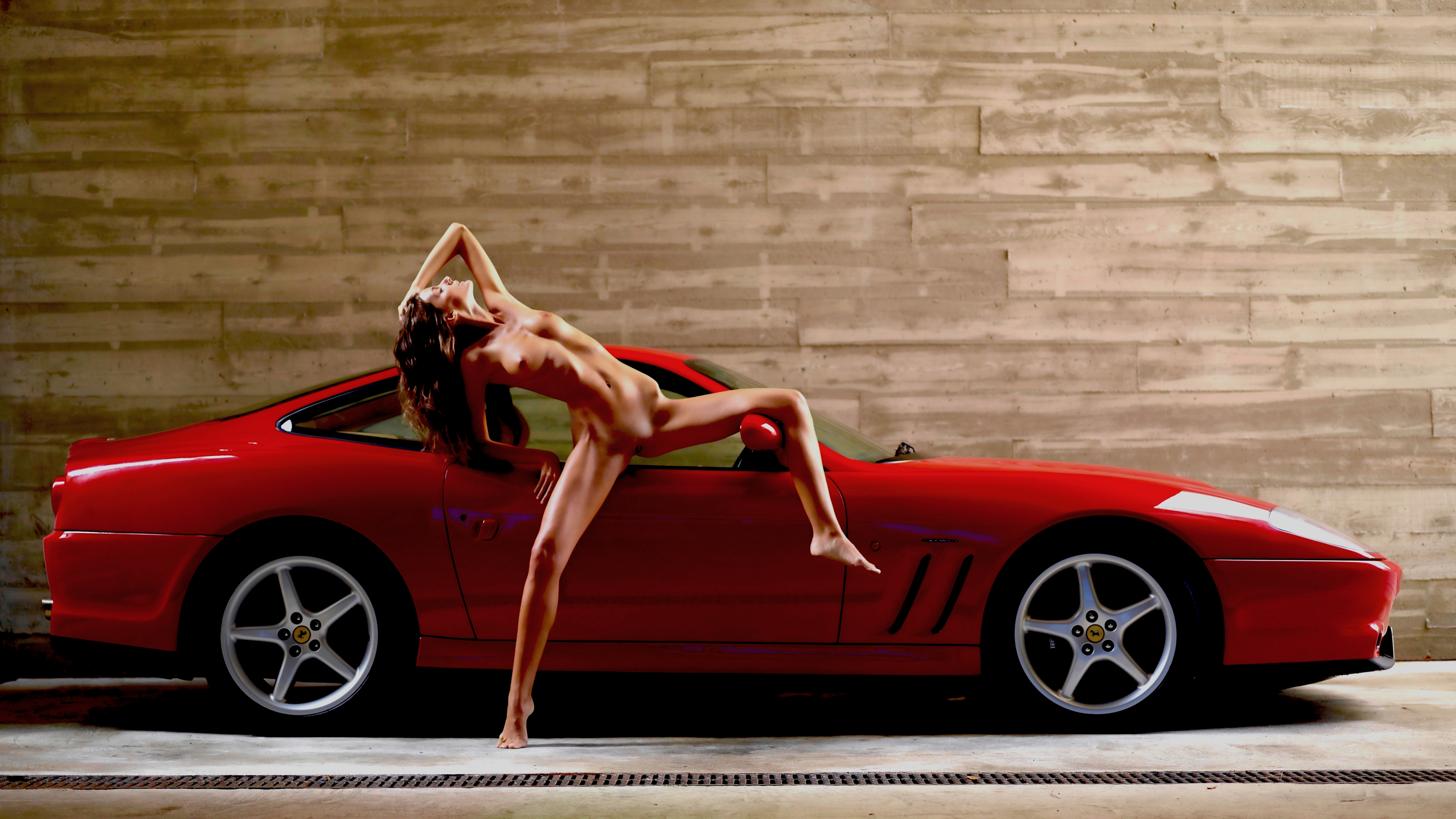 Ferrari And Nude Girl In Heels