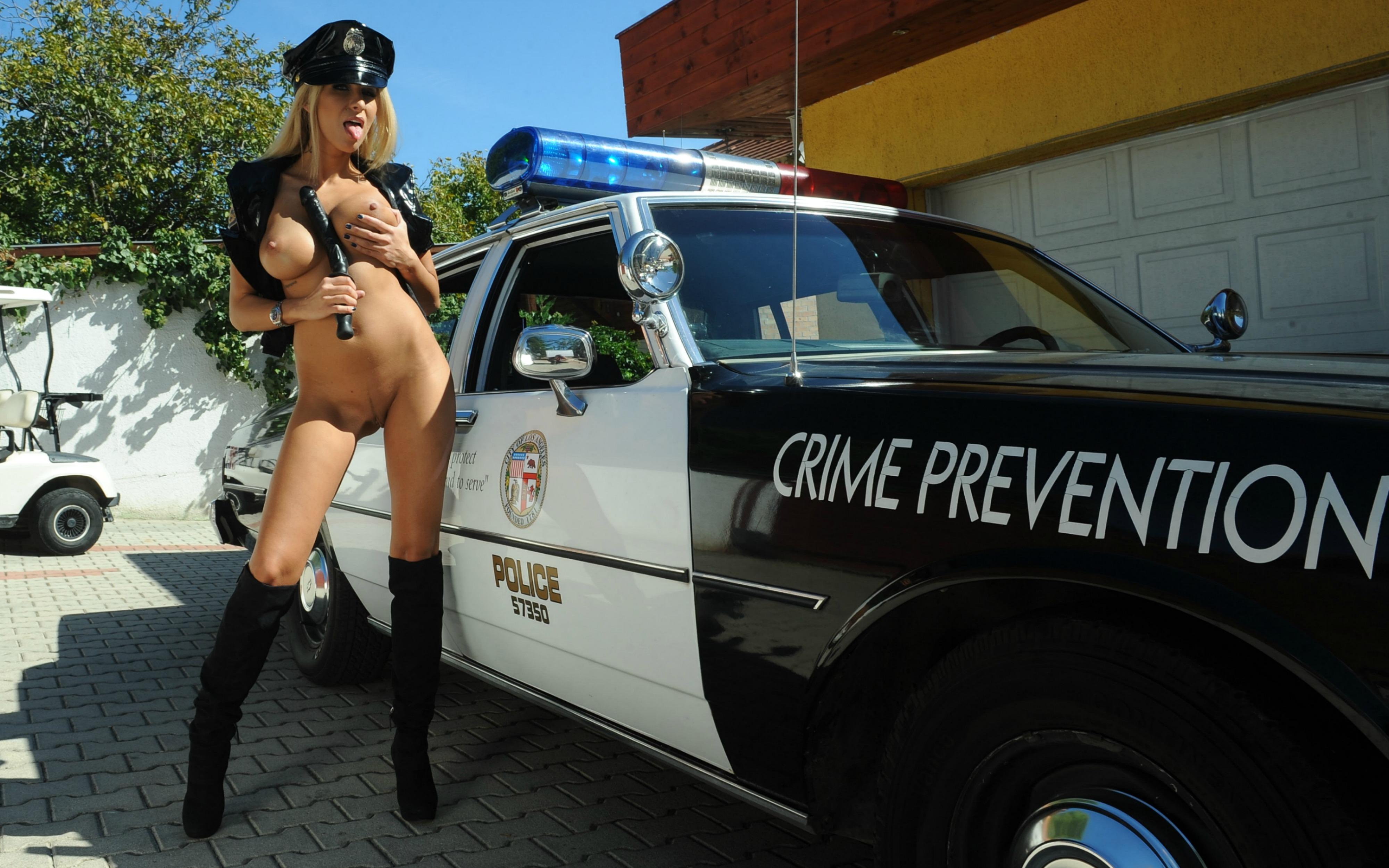 Wallpaper clara g, blonde, police car, naked, boots, big ...