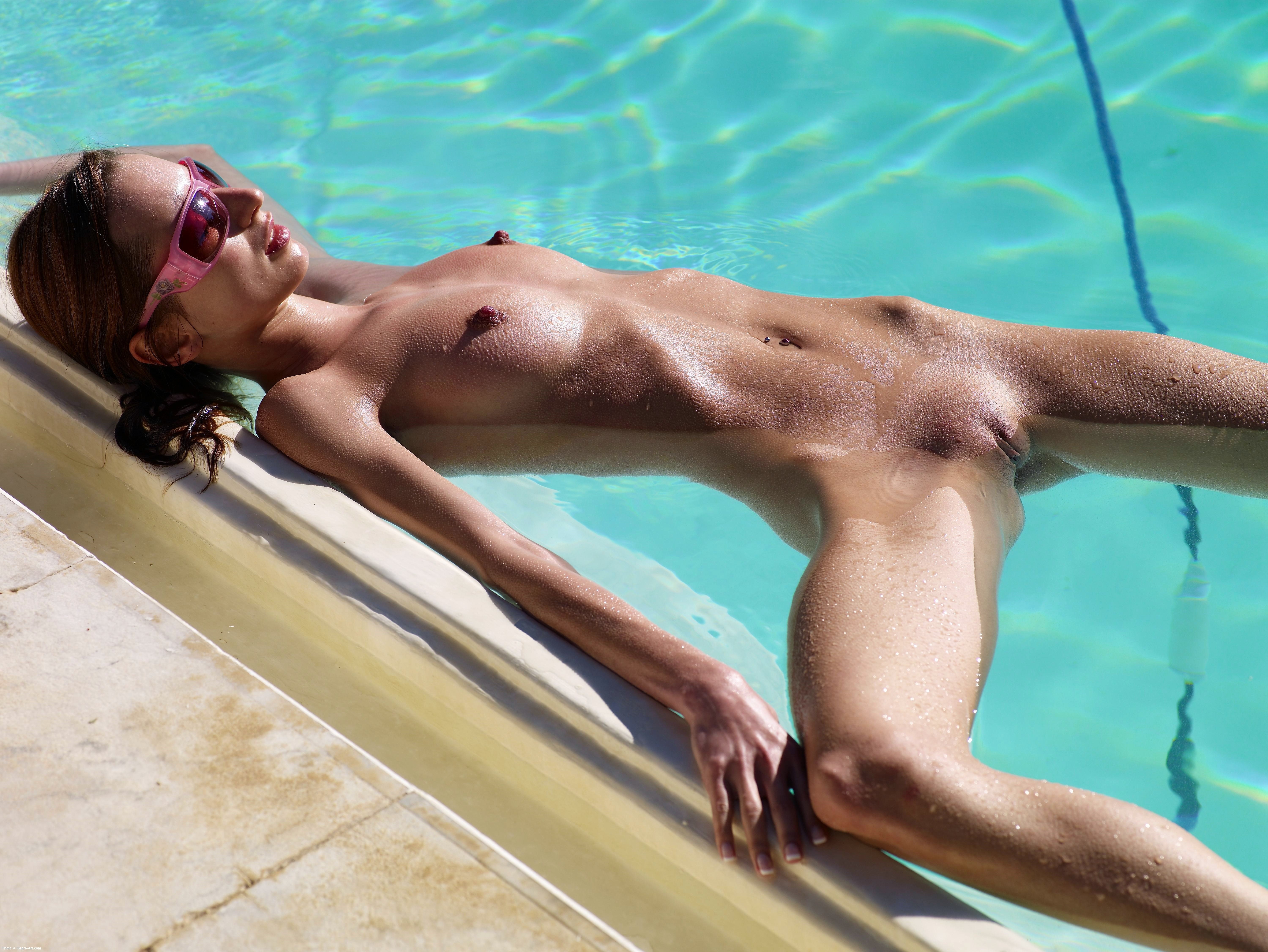 Wallpaper Wet, Shaved, Sexy, Nude, Girl, Yanna, Pool -1039