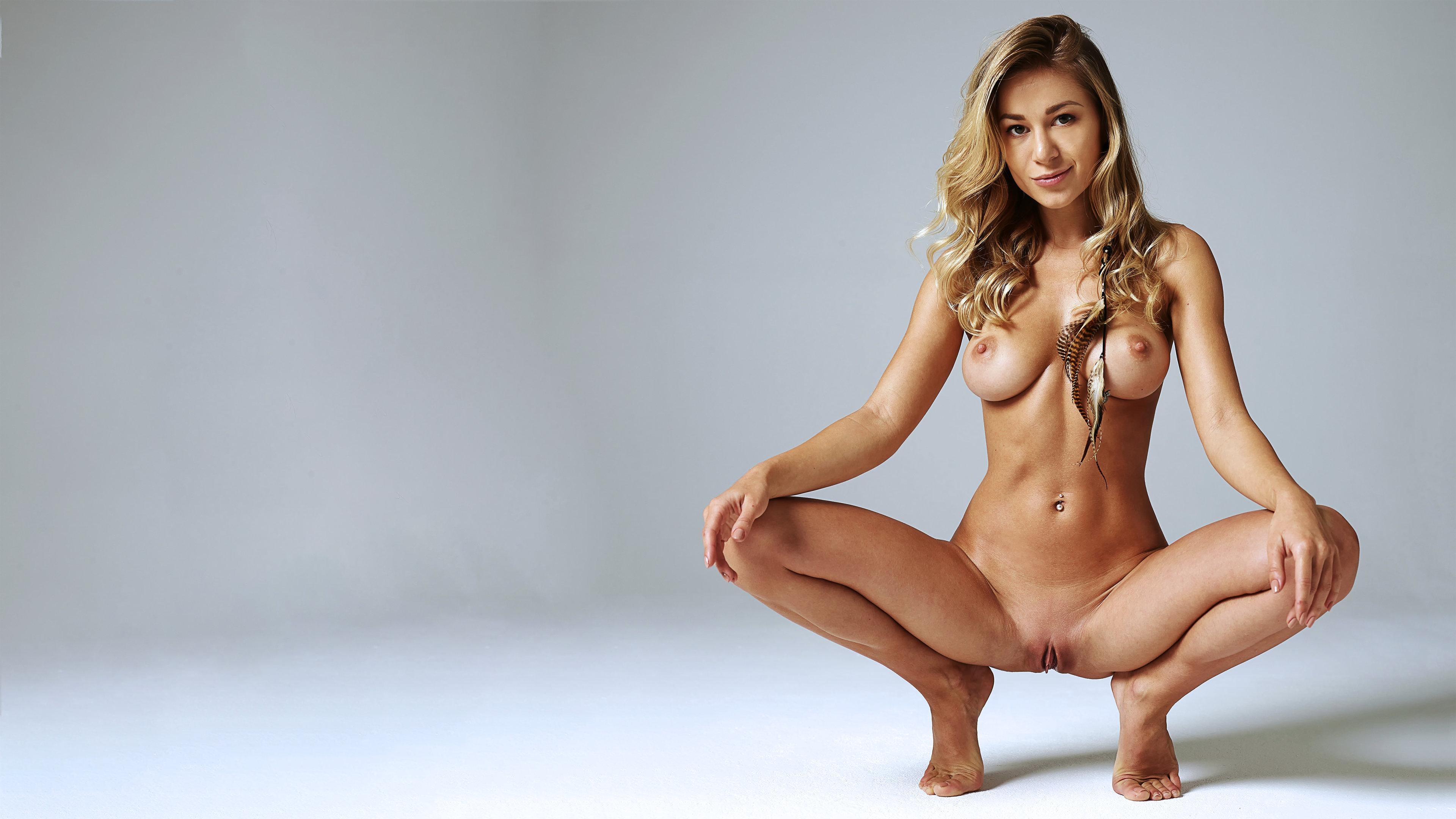 Wallpaper Candice B, Nude, 4K, Squatting, Candice Brielle -5466