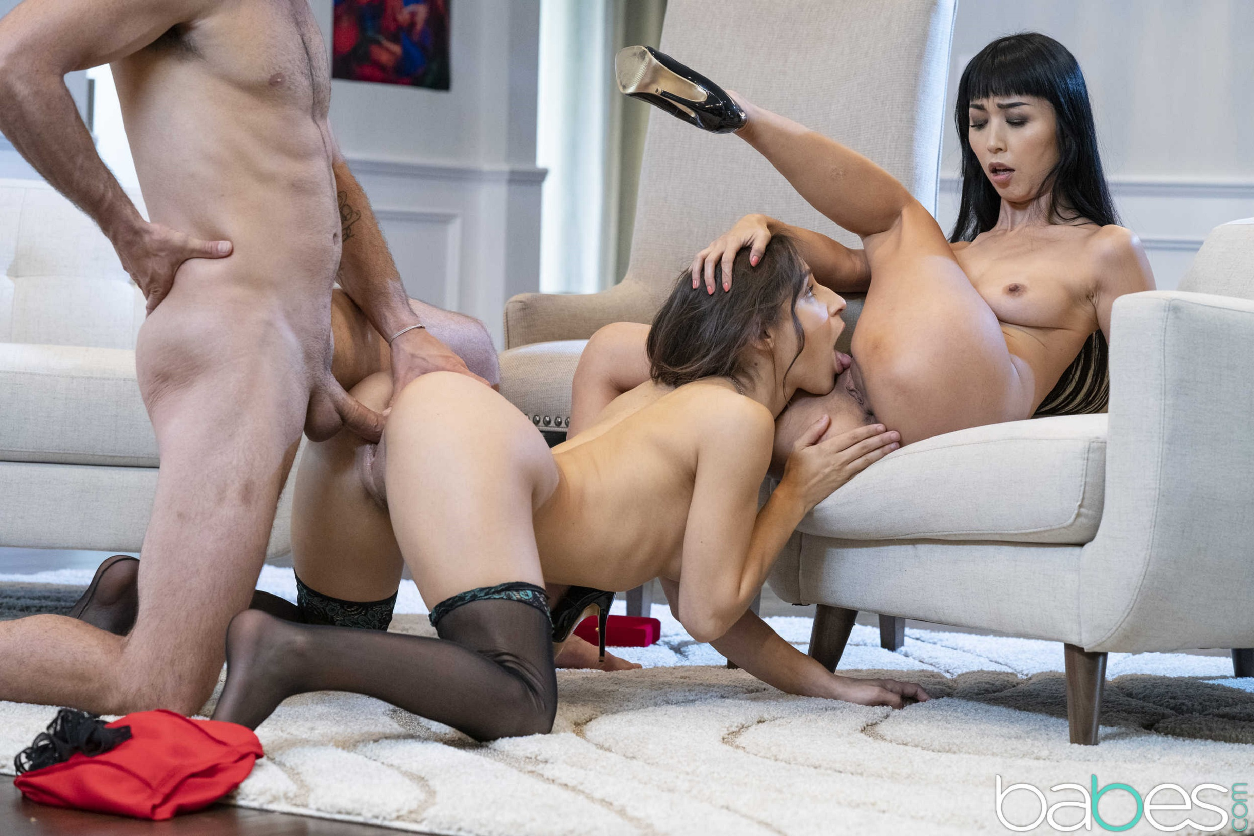 asian woman in panthose threesome