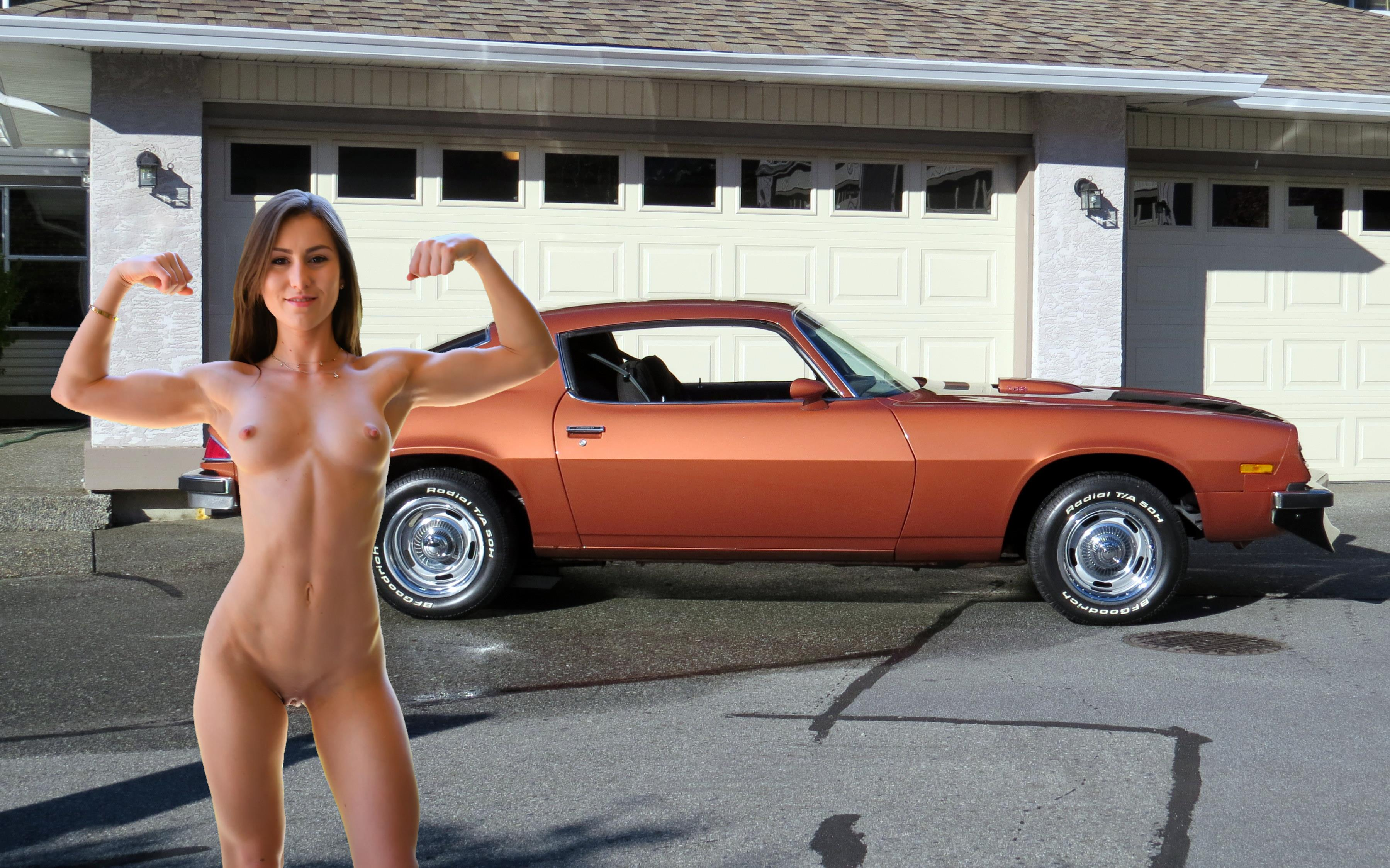 Woman Naked On Muscle Car