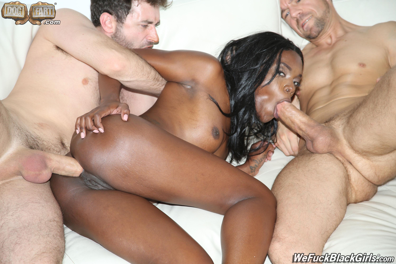 Ebony babe in interracial mmf movies