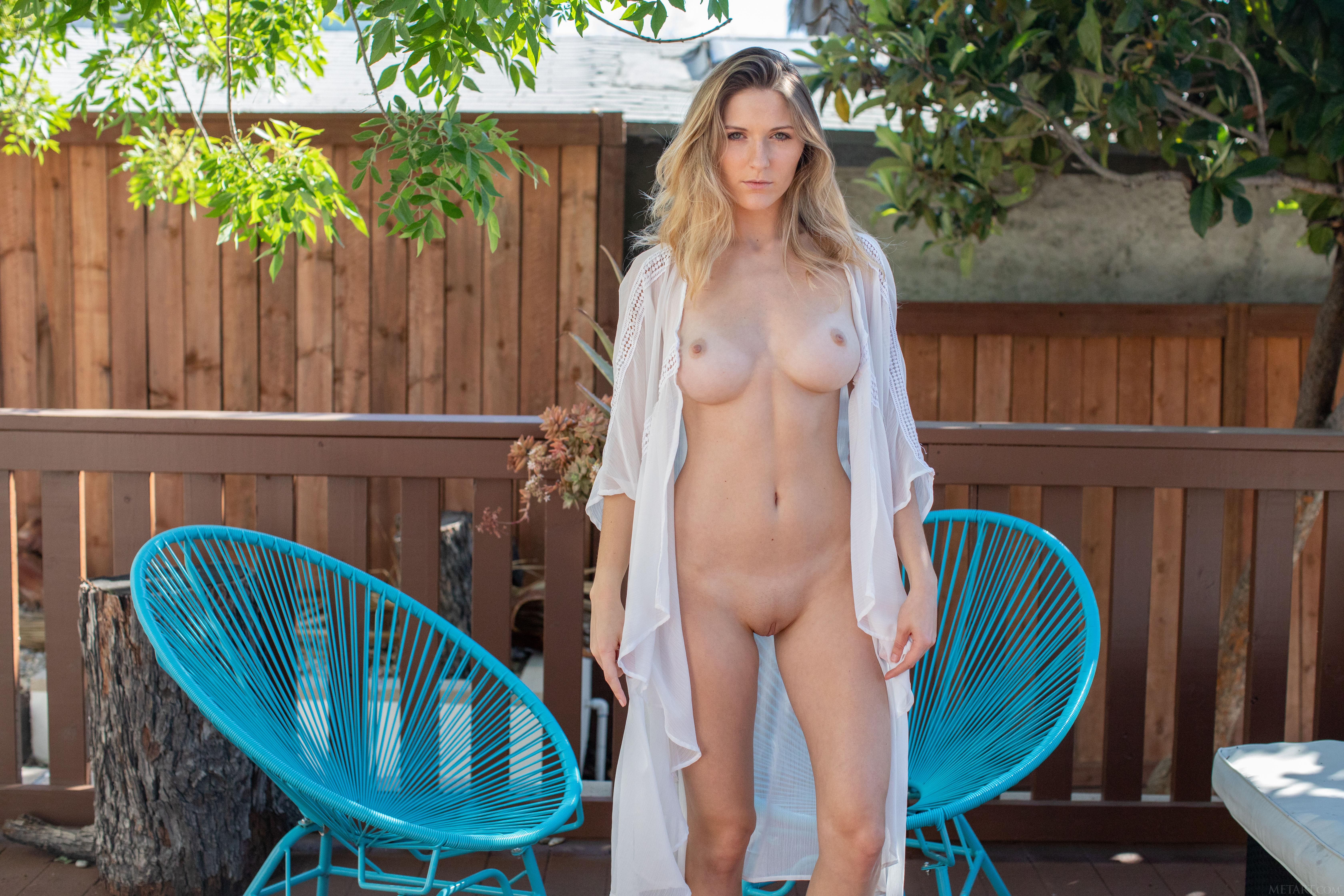 Nude on patio