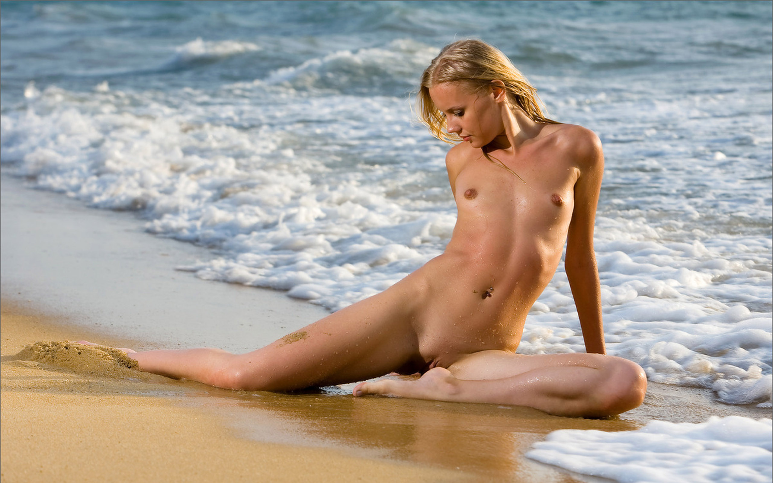 Legs Naked Tanned Girl Sand By Stock Photo