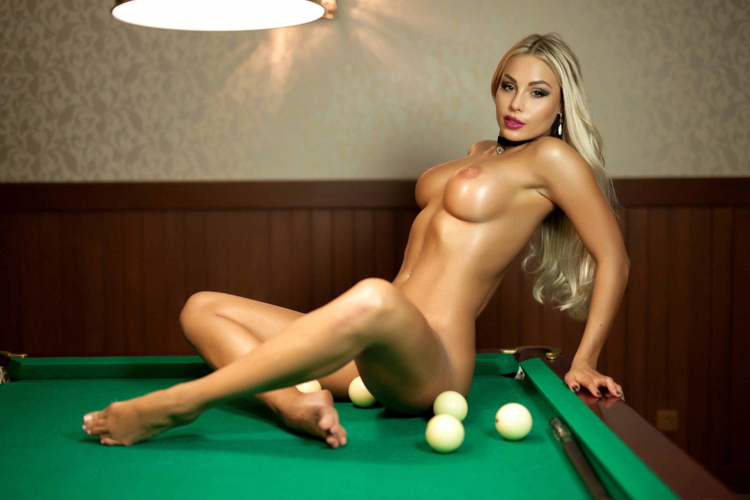 Cutie In Red Plays Sex Billiards Naked