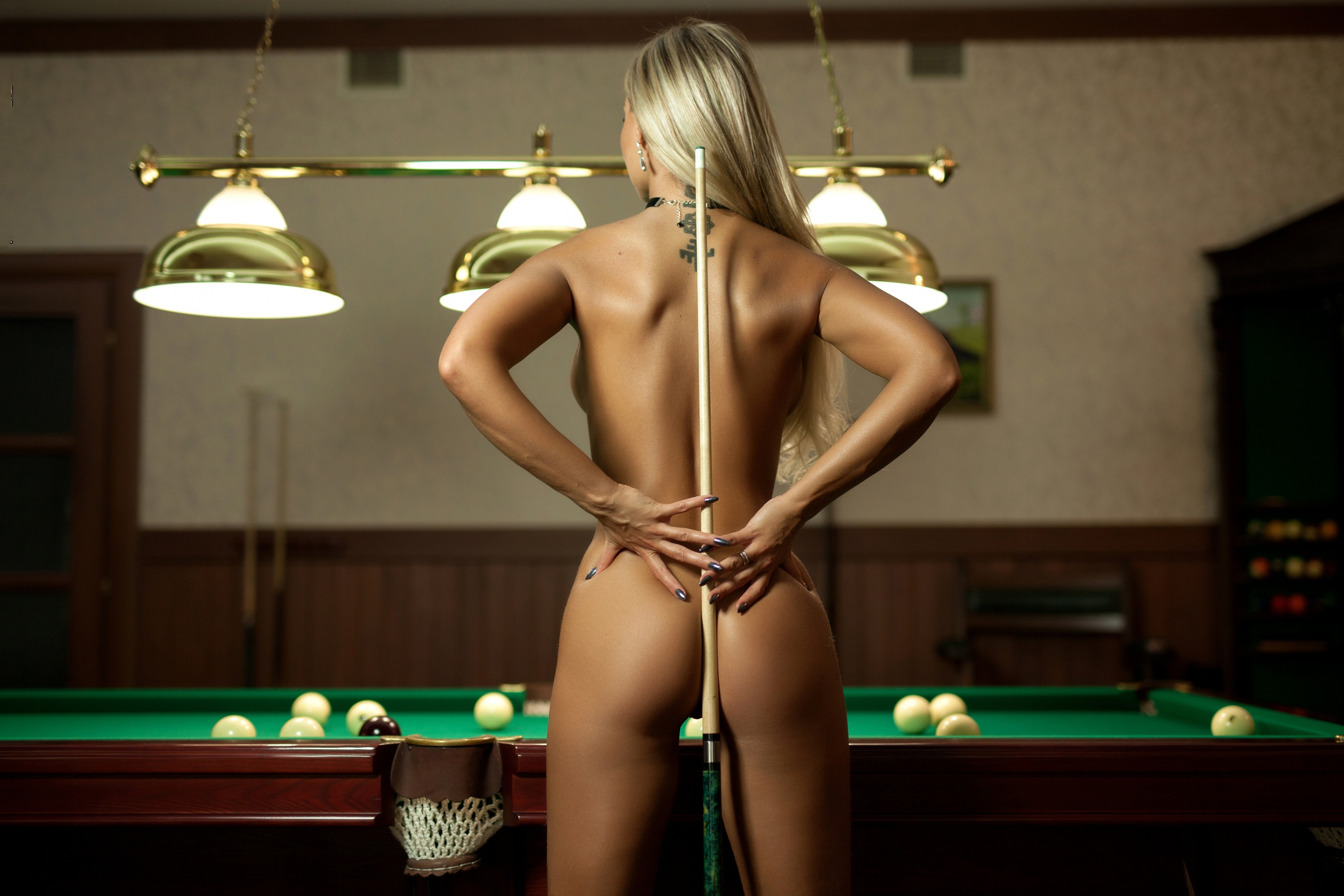 Nude in billard club