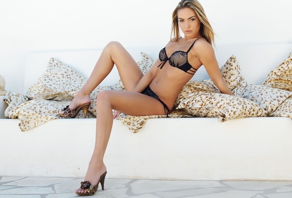 long legs, lingerie, pillow, veronica fasterova, veronika fasterova, beautiful female legs, shoes, model, navel, heels, erotic, bra