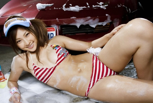 car washing asian lingerie smile