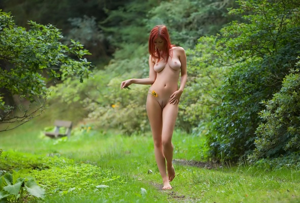 red-haired, nude, titts, ariel, garden, trees, flower, redhead, outdoor, forest, naked, legs, feet, pubic hair, landing strip, nature