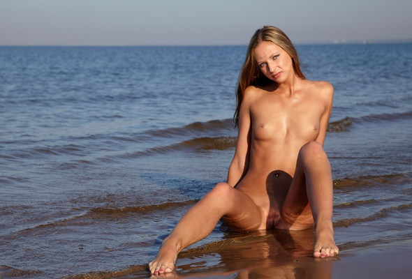Brunette, Pussy, Vagina, Beach, Sand, Wet, Water, Titts, Boobs,