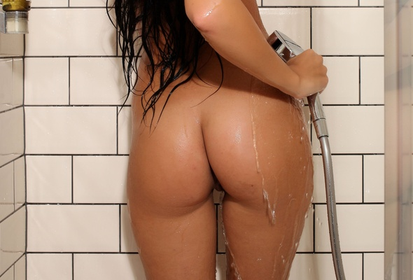 nude models in the shower wet