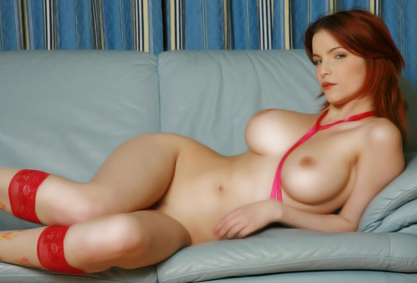 Wallpaper redhead, nude, naked, shapely, curvy, sexy, big tits ...