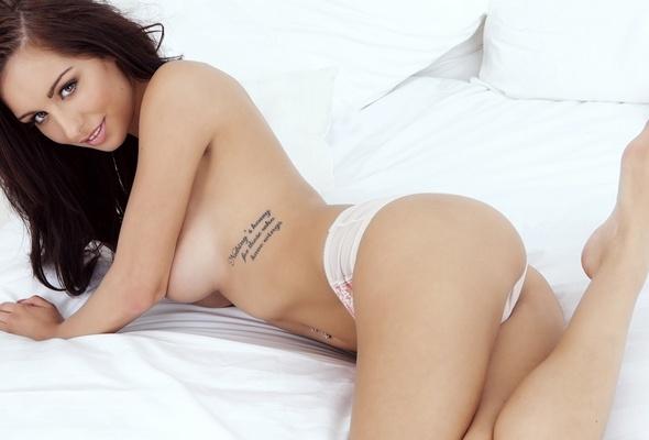 Playmate lingerie brunette