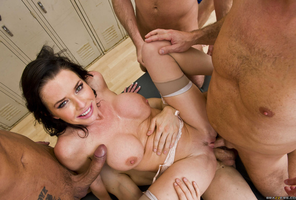 Gorgeous brunette gang bang super cute