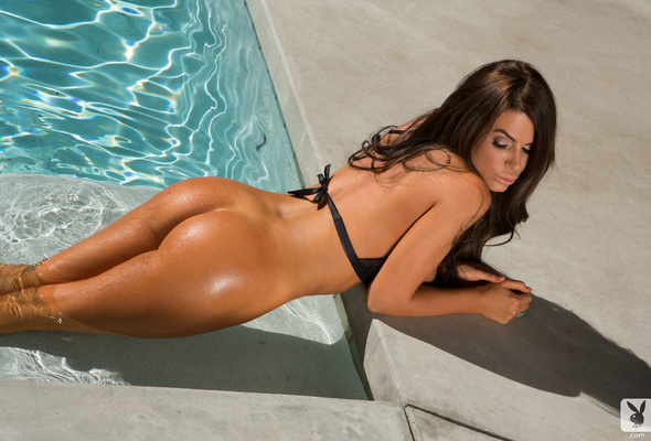 tishara cousino, ass, water, sexy, pool, bikini, playboy