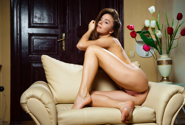 Wallpaper pussy, ass, naked, cute, flowers, chair, lily c, privatus ...