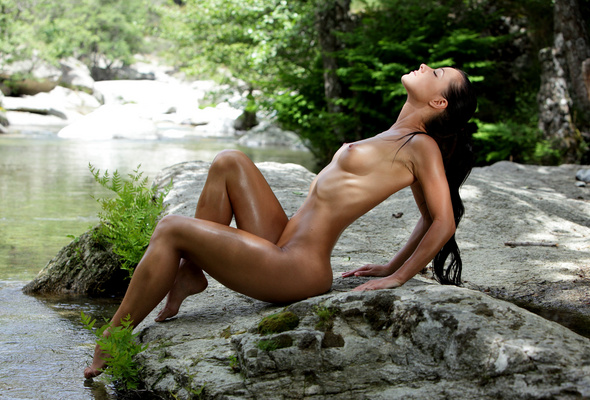 Pantyhose naked by stream women showing