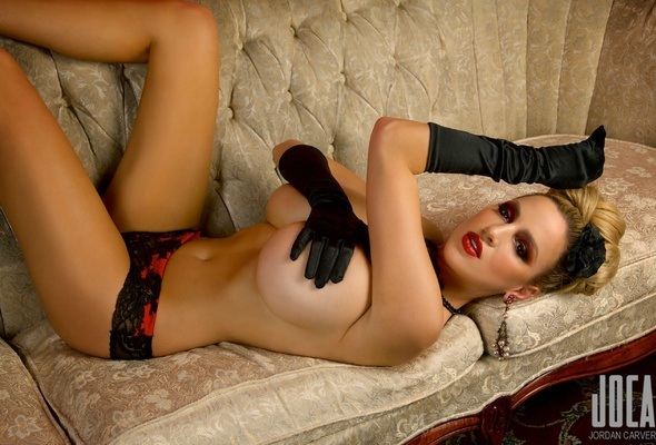 Jordan Carver, Couch, Lingerie, Gloves, Big Boobs, Sexy