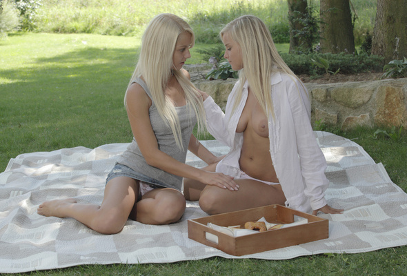 and lesbian Anneli girls outdoors mary