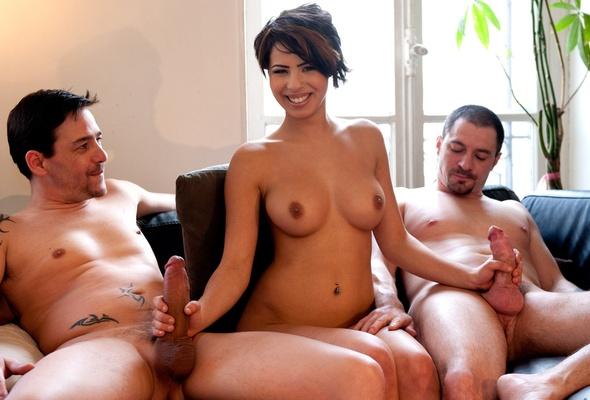 Nude brunette handjob