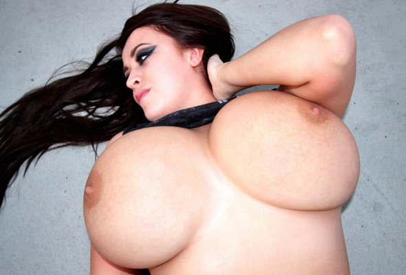 Brunette busty huge tit casually found