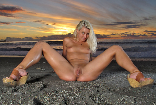 Spreading Sey Girl Nude Beach Sunset Ass Tits Pussy Wallpaper