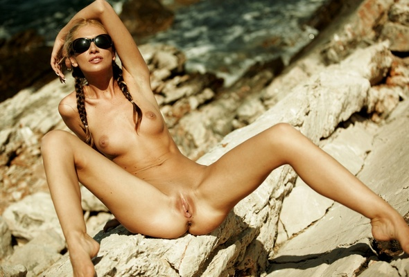Nude, Blonde, Nature, Front, Open Legs, Pussy, Vagina, Boobs,