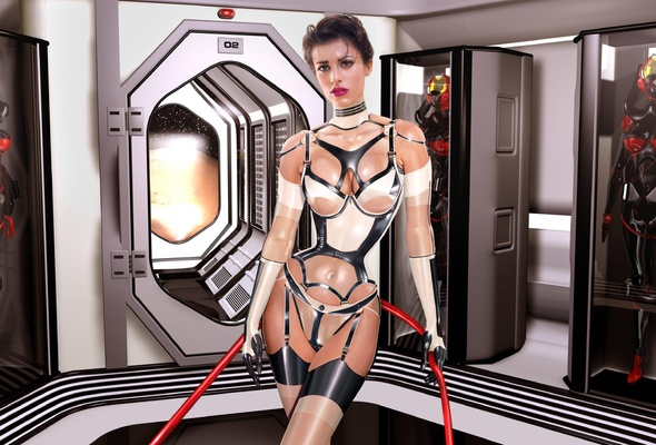 3d, art, fake, virtual babe, sexy babe, latex, fetish, shiny, string, corset, stockings, rubber, brunette, fetish babe, 3d latex