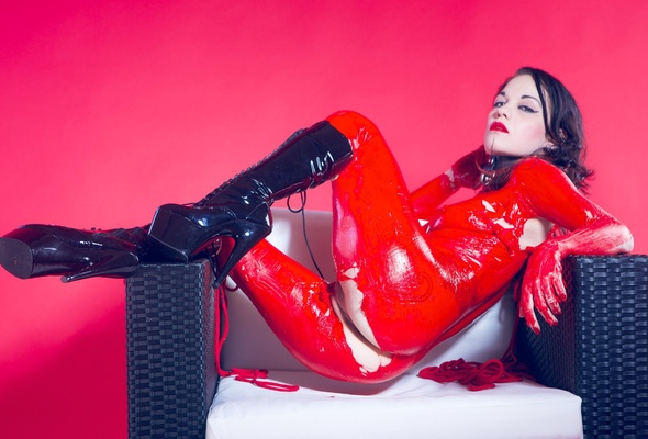 Hot sexy babes nude in latex clothes consider