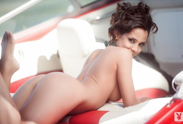 Butt naked girls boat