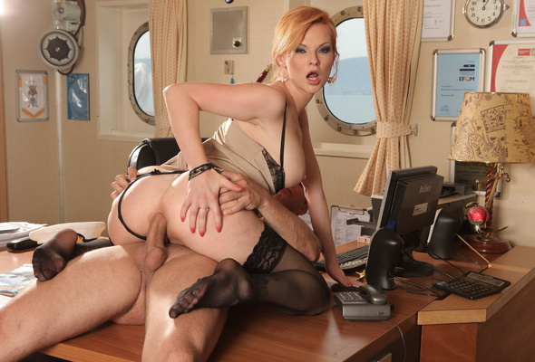 Office sex anal desk blonde