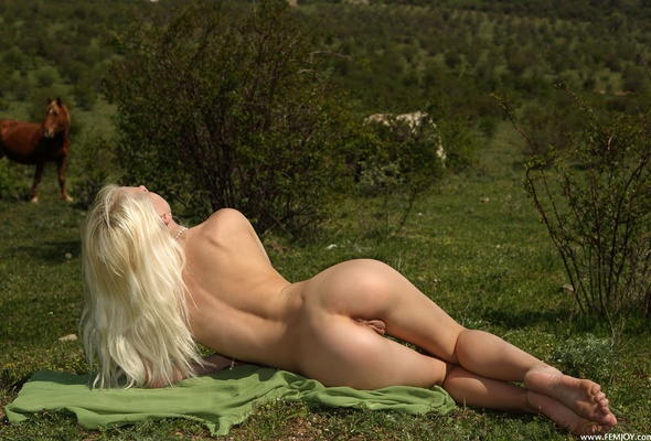 Blonde on hourse nude