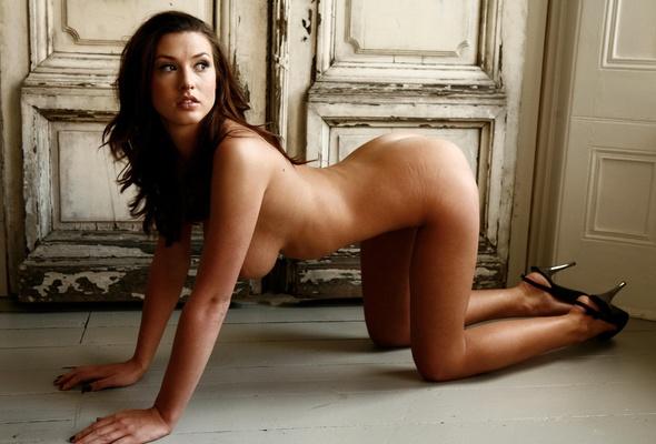 brunette heels nude Kneeling