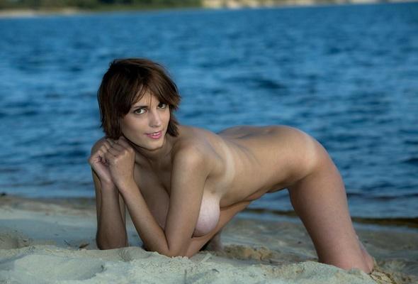 Natural beach tit on the big Milf